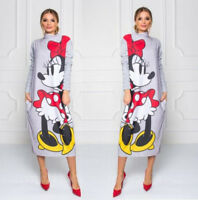 Dress Women Long Sleeve Mickey Minnie Mouse Print Loose Casual Cartoon Pencil