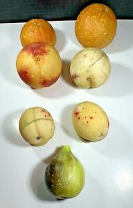 Vintage Italian Carved Alabaster Marble Stone Fruit Hand Painted - Lot of 7