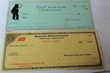 2 Unused Checks Irvin Cobb Hotel Paducah Kentucky
