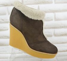 581c1f9e22180 CHLOE Brown Suede and Shearling Womens Wedge Ankle Boots Italy Size 7 UK 40  EU