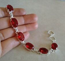 "NATURAL OVAL RED PYROPE GARNET 925 STERLING SILVER LINK CHAIN BRACELET 8"" HANDMA"