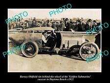 OLD HISTORIC PHOTO OF BARNEY OLDFIELD & SUBMARINE RACE CAR DAYTONA BEACH 1922