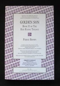 GOLDEN SON Pierce Brown US UNCORRECTED PROOF / ARC 1st ED Incredibly Rare