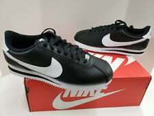 NIB Mens Nike Cortez Basic Leather Black Metallic Silver White 819719 012