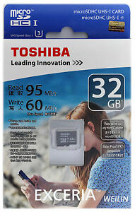 Toshiba EXCERIA 32 GB Micro SDHC 95MB/s U3 Class10 UHS SD HC TF Memory Card 32G