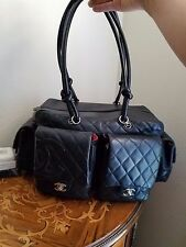 Chanel Black Quilted Large Cambon Reporter Bag Lambskin Flap Pockets CC Logo