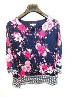 Charter Club 1X Dark Blue Pink Floral Shirt Sheer 3/4 Sleeve Wide Neck 1XL Top