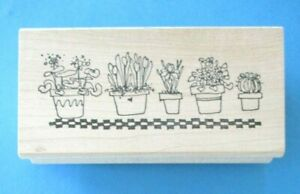 POTTED PLANTS ROW Rubber Stamp FLOWERS Cactus BORDER