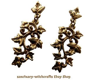 Vintage Gold Art Nouveau Style Ivy Leaf Earrings.