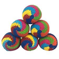 Set of 6 Hacky Sacks Juggling Balls Footbag Spin Made In Guatemala Magic Toy