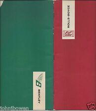 Rolls Royce Bentley Sales Brochure circa 1960