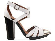 Jeffrey Campbell Dont-Care black white strappy metal cap toe sandals pumps 9