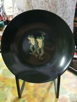 "Couroc frogs  7 3/4"" Bowl MCM Vintage of Monterey Black Inlaid California"