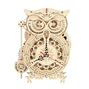 ROKR 3D Wooden Puzzle Owl Clock Kit Model Kits to Build for Adults Best Gift