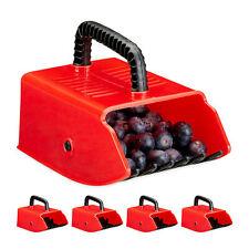 5 x Beerenpflücker, Beerenrechen, Blaubeerkamm, Heidelbeerrechen rot, Beerenkamm