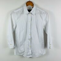 Sportscraft Womens White Top Size 8 Button Up Long Sleeve Stretch Business