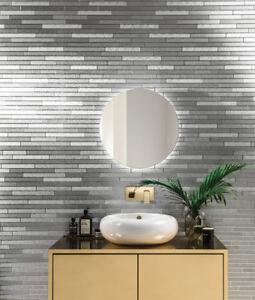 Feature wallpaper Slate brick Foil Silver Black Charcoal 294600 metallic luxury