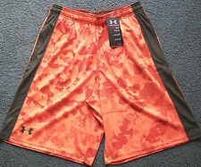 NWT Mens Under Armour L Neon Orange Camouflage/Army Green Micro Print Shorts L