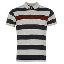 Mens  Lee Cooper Short Sleeves Block Stripes Polo Shirt Top Size M-XXL  BIG SALE