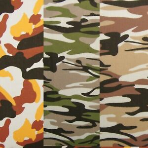 CAMOUFLAGE 40 cms x 112cms CHOICE 3 COLOURS POLY COTTON FABRIC REMNANT