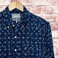BONOBOS Slim fit Men's Button Front Shirt Blue Circle Print Sz Small