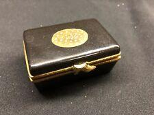 Limoges Trinket Box Black Gold Shoe Box with Shoes Peint Main Signed Paris