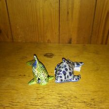 Lot 2 Fish Sand Filled Blue Freckled Fish Paperweight 4� Plush Shiny Green Fish