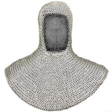Medieval Mild Steel Chainmail Coif Wedge Riveted Flat Ring Ancient Chain mail