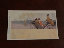 ORIGINAL ART NOUVEAU  SIGNED POSTCARD - FIGURES IN CARRIAGE - PHILIPP & KRAMER.