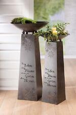 Gilde Metall Schalenständer  EIN LEBEN Skulptur  117 cm Säule Stele mit Schale