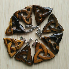 fashion natural tiger eye stone hollow triangle charms pendants 8pcs Wholesale