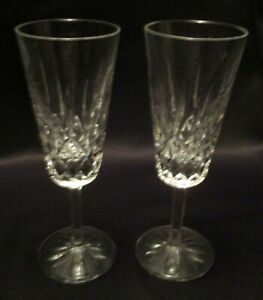 """Pair Marked Waterford Lismore Crystal Fluted Champagne Glasses 7-1/4"""" Tall"""