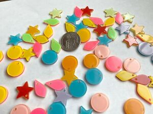 Colorful Charms Beads Colorful Mix Shapes Size Star Round Kite Lot 100 pcs
