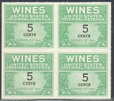 Sc#Re117 - 5c - Internal Revenue Cordial & Wine Stamp Ngai Block of 4 Mnh