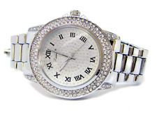Silver Plated Roman Numeral Faux Diamond Bezel Hiphop Bling Watch