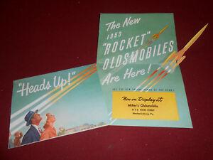 1953 OLDSMOBILE POP UP INVITATION BROCHURE / '53 PROMO / MILLER OLDS PA