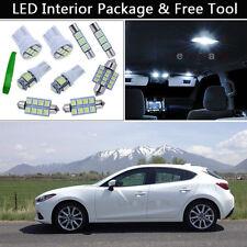 7PCS Xenon Xenon White LED Interior Lights Package kit Fit 2010-2013 Mazda 3 J1