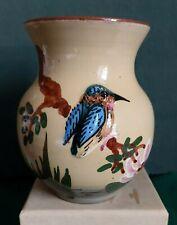 More details for devon tors pottery (bovey) kingfisher vase