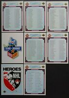 1990-91 Upper Deck UD Unmarked Checklist Team Set of 8 Hockey Cards