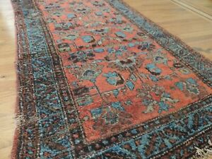 3x6  3x5 Antique Malayer Rug wool Red Blue Brown Rust Ralph-Lauren Worn Style