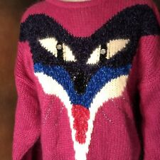 Sweater Ladies Hot Pink Mohair Fox Monster Motif Large
