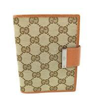 "GUCCI: Beige, ""GG"" Logo & Leather Folding Wallet/Agenda (pn)"