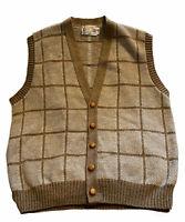 Vg Plaid LONDON FOG SWEATER VEST Wool Blend Dapper/ Cardigan Leather Buttons USA
