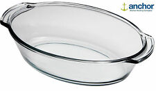 Anchor Hocking 4 Litre Very Large Deep Glass Oval Oven Roasting Dish Baking Dish