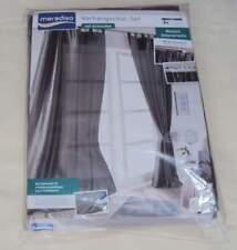 Vorhangschal-Set mit Schlaufen 135x265 cm grau 2er Pack + Raffhalter Meradiso