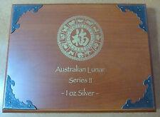 Australia Lunar Serie 2 MEDAGLIA Box per 12 x 1 OZ (ca. 28.35 g) Monete D'argento Edizione in legno