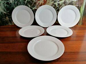Royal Copenhagen - White Ribbed - 6 Classy Dining Plate Ø 10 5/8in