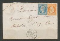 LETTRE 1867 à 60c Valeur déclarée 2000F Chargé d'office C 300€ TB P1656