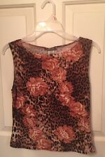 TOGETHER SEXY ANIMAL ROSE PRINT LEOPARD TOP SIZE LARGE STRETCH BLOUSE EUC