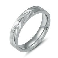 316L Stainless Steel Wedding Engagement Band Round Fashion Men Women Rings 4MM